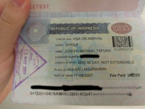Typical Visa on Arrival